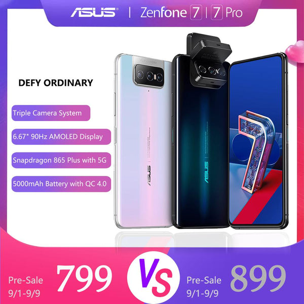 ASUS Zenfone 7 Pro 8GB RAM 256GB ROM Snapdragon 865/865Plus  5000mAh NFC Android Q 90Hz 5G Smartphone