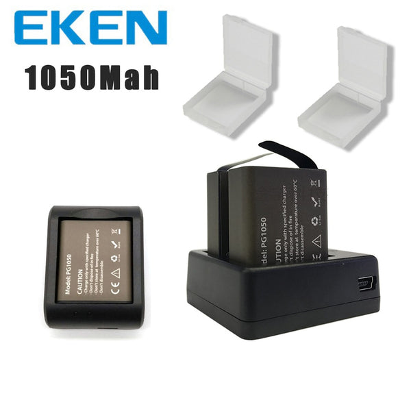 EKEN 2pcs/set 3.7V PG 1050mAh Battery for EKEN SJCAM Action Camera h9r h8r h6s  h5s H3r C30 F68 SJ4000 with Dual Battery Charger