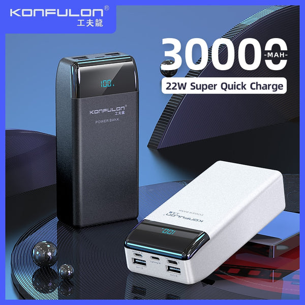 Power Bank 30000mAh QC PD QC 3.018W Powerbank /22.5W VOOC Digital Display External Battery Charger For Moible Phone /Laptop Book