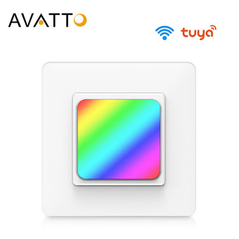 AVATTO Tuya RGB Light WiFi Switch with Night Light, Smart Wall Light Switch Smart Home Automation works with Alexa, Google Home (TS10 Night Light)