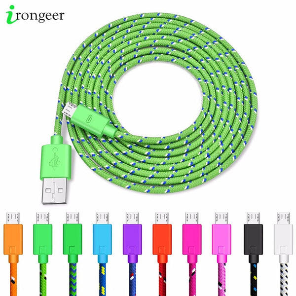 Nylon Braided Micro USB Cable Data Sync USB Charger Cable For Samsung Huawei Xiaomi Android Phone 1M/2M/3M Fast Charging Cables