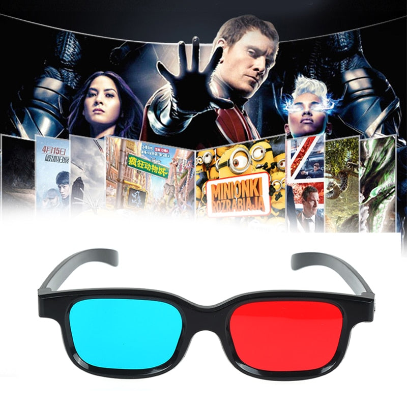 1 Pc New Universal High Qulity 3D Glasses Red Blue Frame For Dimensional Anaglyph Movie DVD Game (Black)