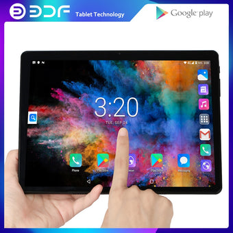 10.1 inch Tablets Android 7.0 Quad Core 32GB ROM 2.5D Steel Screen IPS WiFi Bluetooth GPS Tablet PC Mobile Phone SIM Card Google