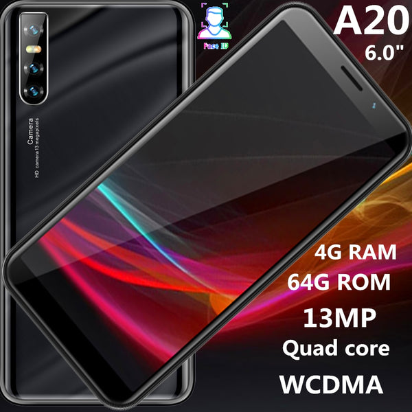 Global version A20 smartphones 18:9 IPS 4G RAM 64G ROM quad core 13MP face ID unlocked 6.0