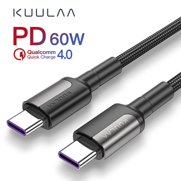 KUULAA USB C to USB type c cable PD QC 60W for xiaomi mi 10 9 redmi note 8 7 type-c cable Quick Charge 4.0 fast charging USB-C