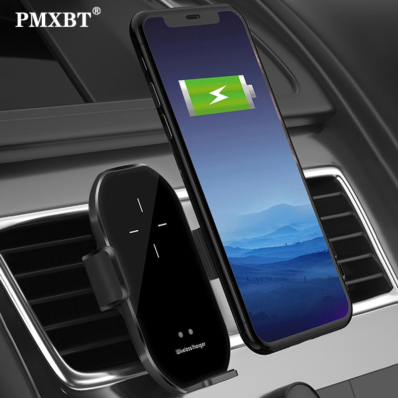 A7 10W Wireless Charger Automatic Clamping Car Mount Phone Holder For Mobile Phone Infrared Induction QI Fast Charging Car Stand