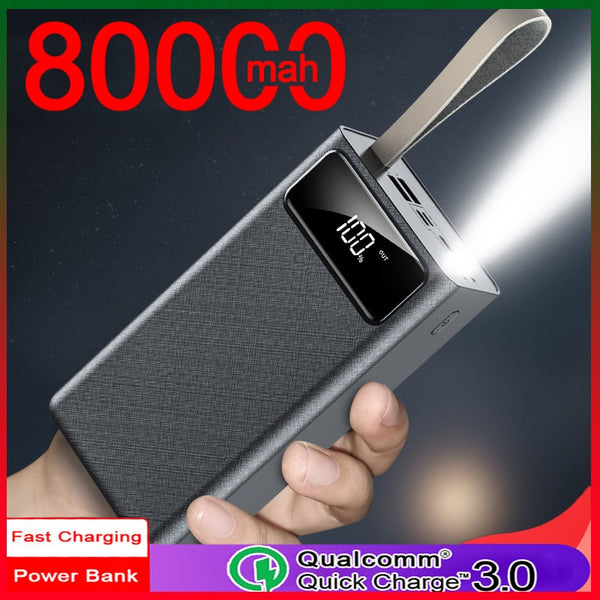 Power Bank 80000mAh Large Capacity Portable Charger 2USB External Battery Travel Emergency Power Bank for Xiaomi Samsung IPhone