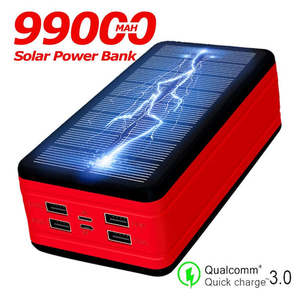 Solar Power Bank Large Capacity 99000mAh Portable Charger LED Waterproof Outdoor Poverbank for Iphone Xiaomi Samsung