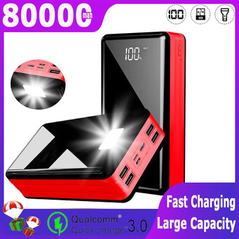 80000MAh Power Bank  Portable Charger Large Capacity External Battery 4USB LEDDigital Display PowerBank for Xiaomi MI IPhone