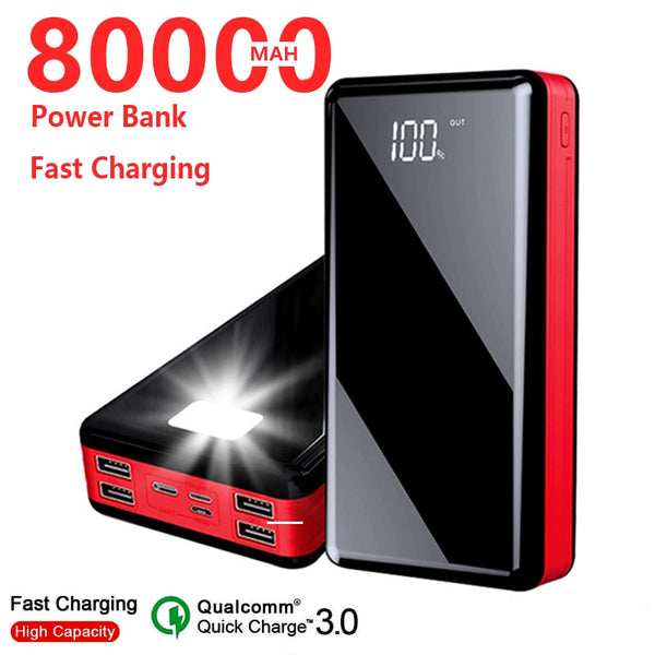 80000mah Power Bank Portable 4USB External Battery Charger LED Digital Display Powerbank For IPhone Samsung Xiaomi