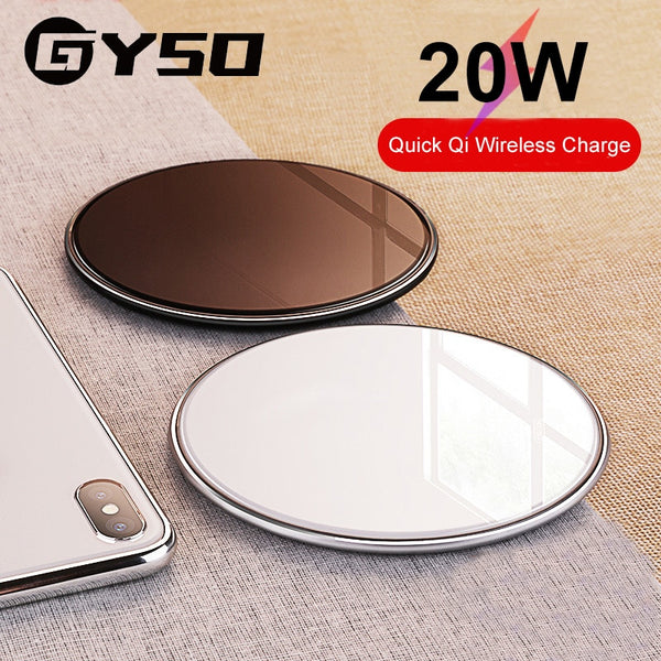 GYSO 20W Fast Qi Wireless Charger For iPhone 11 Pro X/XS Max XR 8 Plus USB Wireless Charging Pad For Samsung S9 S10 S20 Note 9 8