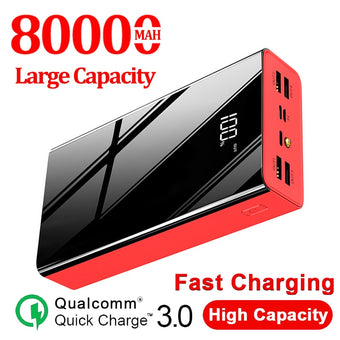 80000mAh Power Bank Large Capacity LCD PowerBank External Battery USB  for Samsung Xiaomi Iphone Portable Mobile Phone Charger