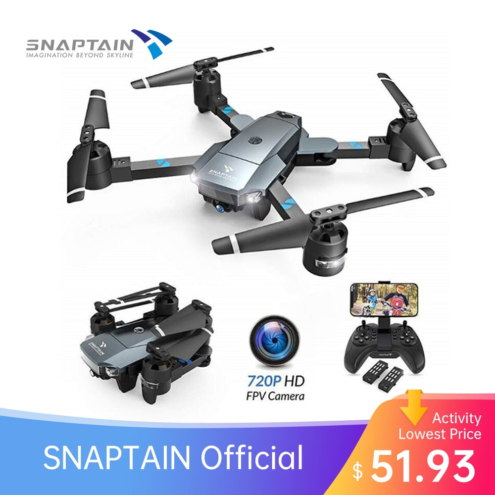 SNAPTAIN A15 Foldable FPV WiFi Drone Voice Control120° Wide-Angle 720P HD Camera Flips Headless Mode App Control Camera Drones