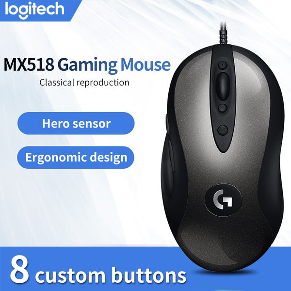 Original Logitech MX518 LEGENDARY Classic Gaming Mouse 16000DPI Programming Mouse Upgraded From MX500/510 For CSGO LOL OW PUGB (Black)
