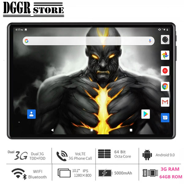 Global Version10.1 inch tablet PC 3GB RAM 64GB ROM 1280*800 IPS Dual SIM Card GPS Wifi Octa Core Android 9.0 +64GB Card for Gift