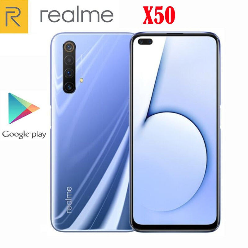 Official New Realme X50 5G Cell Phone Snapdragon 765G 6.57inch 120Hz 6GB RAM 64GB ROM 64.0MP 30W Charger NFC Android 10.0 OS