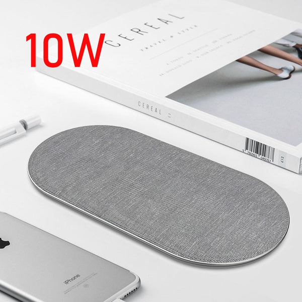 10W Dual QI Wireless Charger for iPhone 11 Pro Max X XS Max XR Cloth Wireless Charging Pad for Samsung Note 10 QC.3.0 adapter