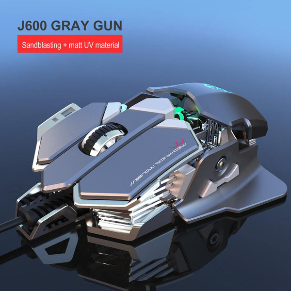 New J600 eat chicken mechanical gaming mouse 6400DPI 9-key programmable wired mouse light cool automatic gun for PC gamer