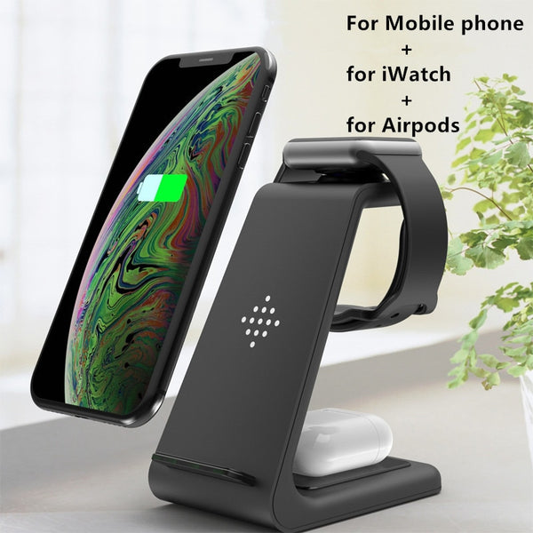 3 in 1 10W Fast Wireless Charger For iPhone 11 pro X Charger Dock Station For Apple Watch 4 5 for Airpods Wireless Charger Stand