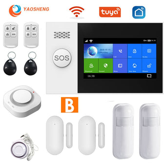TUYA security alarm system for home Apps Control with smoke detector Door sensor smart House Wired wireless gsm alarm