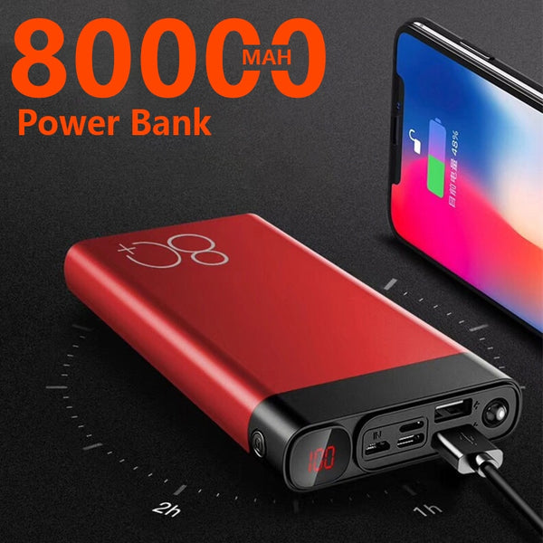 2020 New Large Capacity 80000mAh Power Bank Supply Mobile Power Fast Charging Dual USB Portable Mobile Power High Capacity
