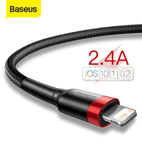 Baseus USB Cable for iPhone 11 Pro Max Xs X 8 Plus Cable 2.4A Fast Charging Cable for iPhone 7 SE Charger Cable USB Data Line