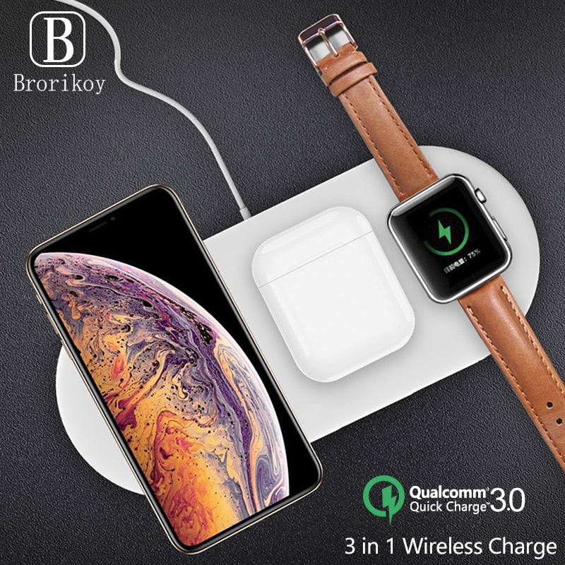3 in 1 Qi Wireless Charger Pad 2W Magnetic Charging for iWatch Series 4 3 2 1 Wireless Quick Charge for Samsung iPhone iPods Pro