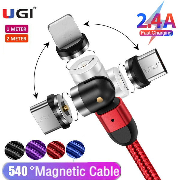 UGI 1M/2M/3M 3in1 Magnetic Cable 2.4A Fast Charging Charger 540° 180° 360° Rotating Micro USB Type C USB C For IOS Tablet Nylon
