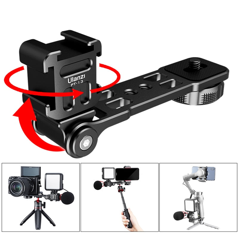 Ulanzi PT-13 Triple Hot Shoe Mount Cameras Bracket Mount Extenstion Bar for Microphone LED Light for DJI Osmo Mobile 3 Zhiyun