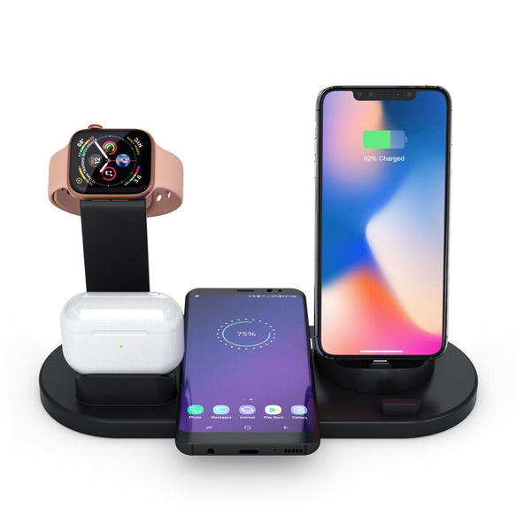 10W Qi Wireless Charger Dock Station 4 in 1 wireless charging wireless chargers phone carregadores sem fio cargador inalambrico (Black)