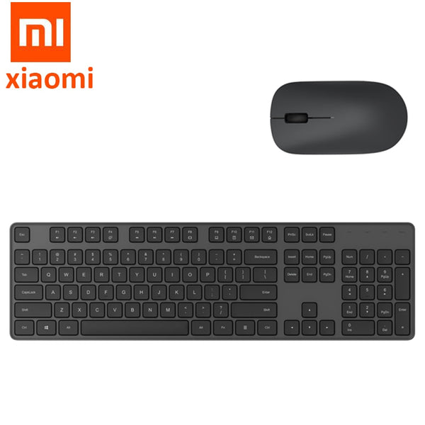Original Xiaomi Wireless Office Keyboard & Mouse Set 104 keys Portable Keyboard 2.4 GHz USB Receiver Mouse for Windows 10 PC MAC (Black)