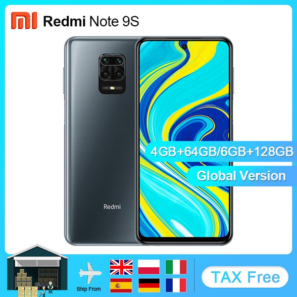 Global Version Xiaomi Redmi Note 9S 4GB 64GB/6GB 128GB Smartphone Octa-core 6.67'' FHD Snapdragon 720G 5020mAh 18W Charger