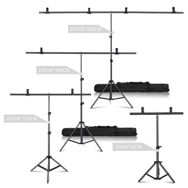 Professional Photography Photo Backdrops T-Shape Background Frame Support System Stands With Clamps