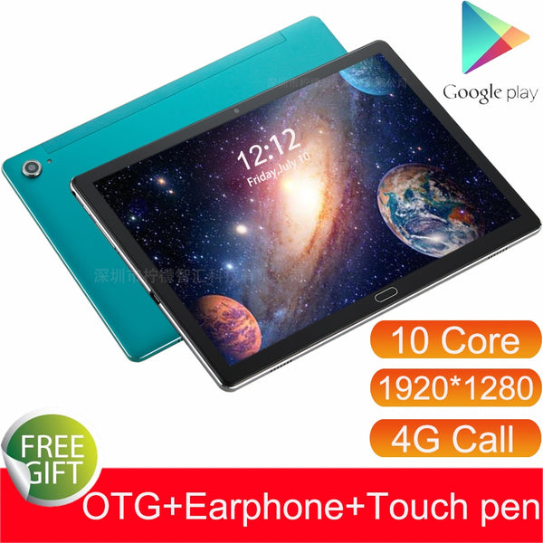 4G 10.6 Inch Tablet Android 8.0 MTK6797 Deca Core Dual 4G call GPS 4GB RAM 128GB ROM Dual Camera Phone Call Tablets 10 1920*1280