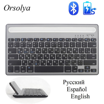 Russian/Spanish Bluetooth MIni Keyboard With Phone Holder Rechargeable Wireless Dual Channel Keyboard For Tablet/Laptop/Phone