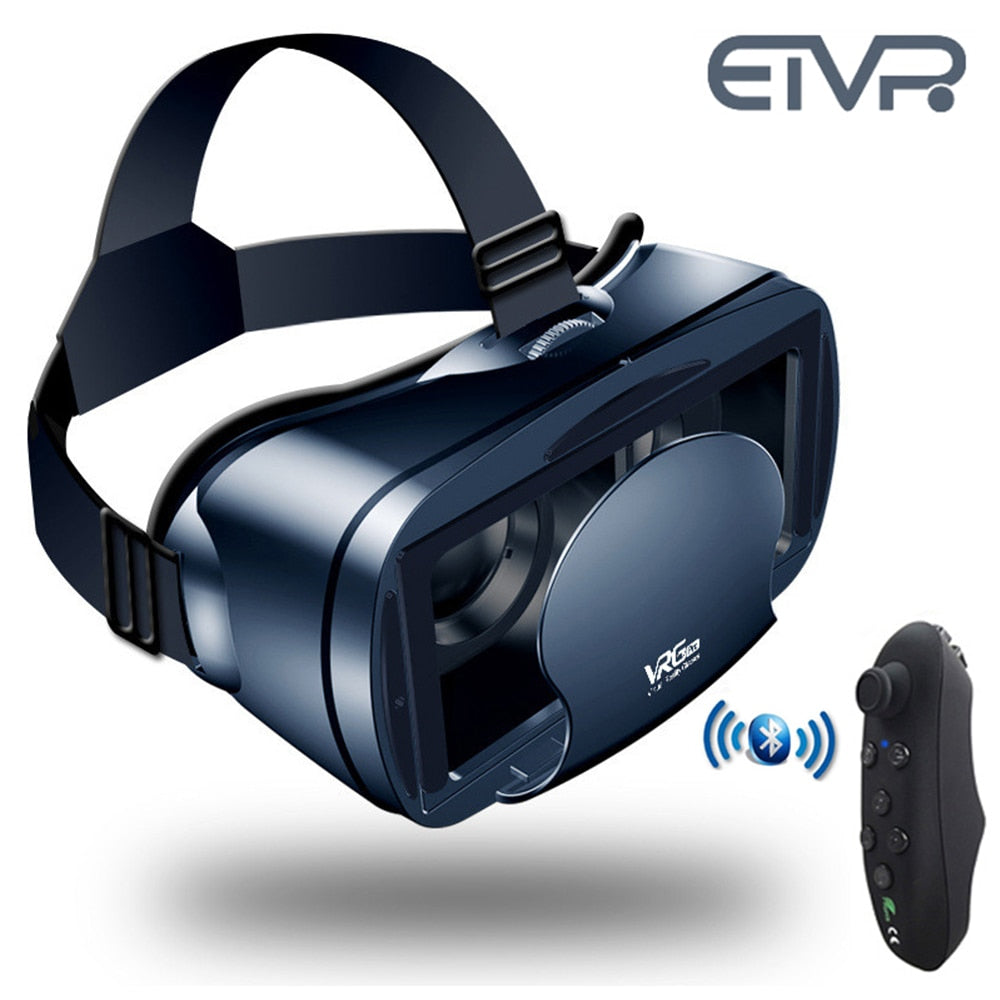 ETVR 3D Movies Games Glasses VR Box Google Cardboard Immersive Virtual Reality Headset with Controller Fit 5-7 inch Smart phone
