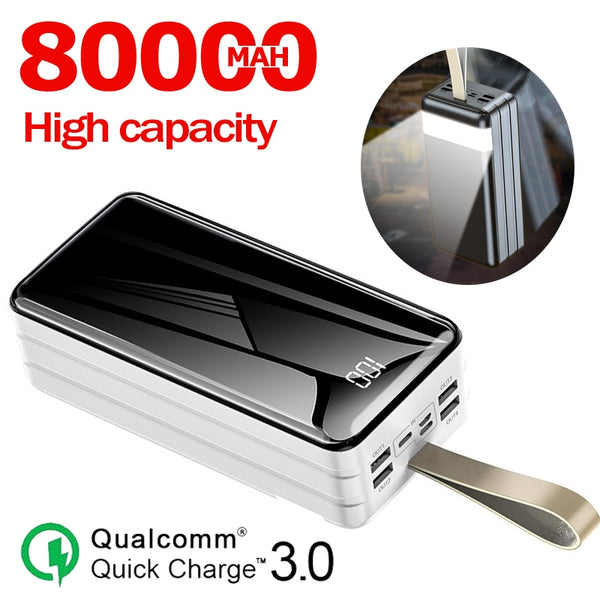 80000mah High Capacity Power Bank For Xiaomi IPhone Samsung Portable LED Digital Display External Battery Charger Powerbank