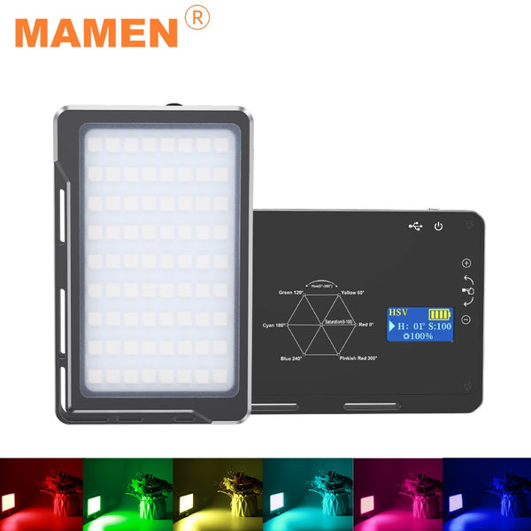 MAMEN 72R RGB 1000K-9000K Photographic Lighting Rechargeable 4000 mAh With 72 LEDs For Camera Studio Youtube Selfie Fill Light
