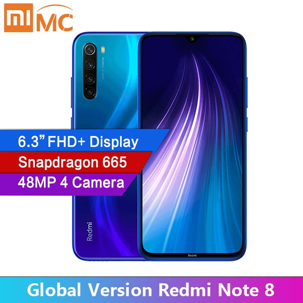Global Version Xiaomi Redmi Note 8 48MP 4 Cameras 4GB RAM 64GB/128GB Smartphone Snapdragon 665 Octa Core 6.3