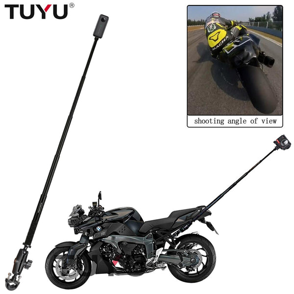TUYU Motorcycle Bike Camera Holder Handlebar Bracket Stand For Insta360 One R X & GoPro DJI YI Invisible Selfie Stick Accessory