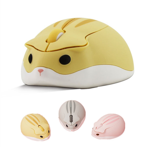 2.4G Wireless Optical Mouse Cute Cartoon Hamster Computer Mice Ergonomic Mini 3D PC Office Mouse For Kid Girl Gift