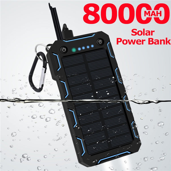 80000mAh Solar Power Bank LED Lighting Outdoor Portable 2 USB Poverbank Travel External Battery for Samsung IPhone Xiaomi (blue)