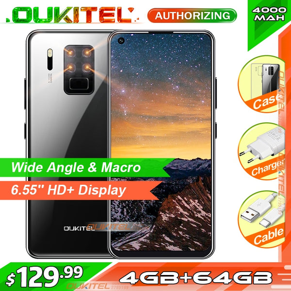 OUKITEL C18 Pro 6.55'' HD+ 4GB 64GB Quad Cameras Smartphone MTK6757 Octa Core Android 9.0 Mobile Phone 4000mAh