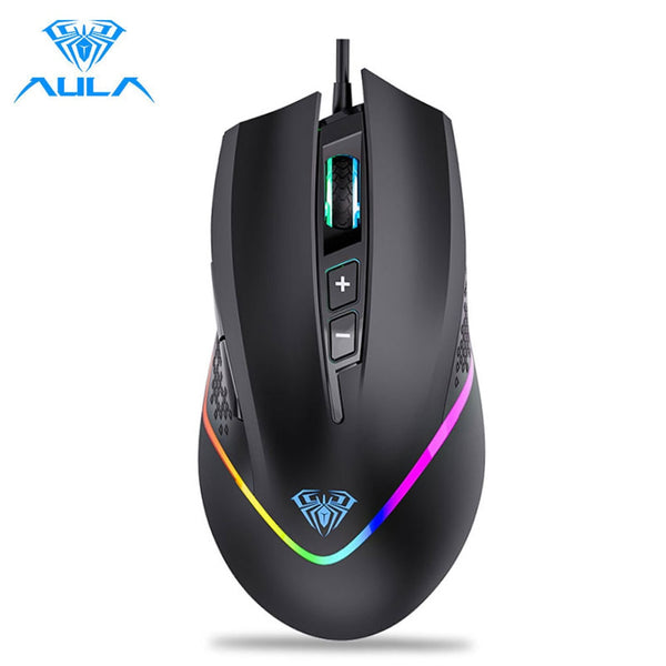AULA F805 RGB Gaming Mouse Wired 6400DPI 7 Programmable Buttons Backlit Ergonomic Gamer Mouse for Laptop Desktop PC Computer (Black)