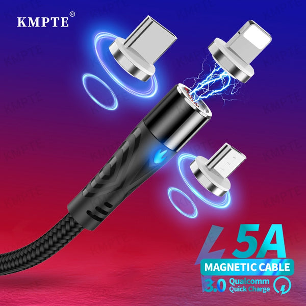 KMPTE 5A Type C Magnetic Cable Micro USB Cable For iPhone 11 Pro Max 5A Fast Charging For Huawei P40 Fast Charger Magnetic Cable