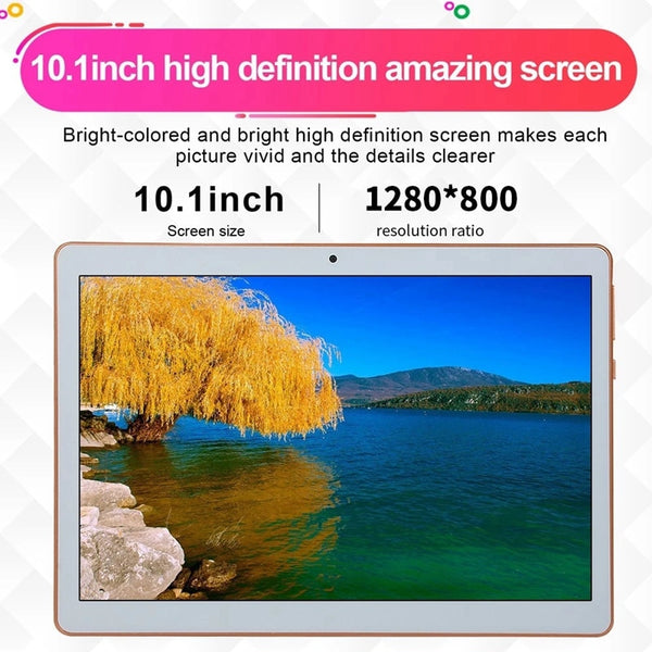 10.1inch Business Tablet with MT6582 Quad-Core Processor 1280X800 Resolution 1GB+16GB Memory 2G/3G(EU Plug) (White)