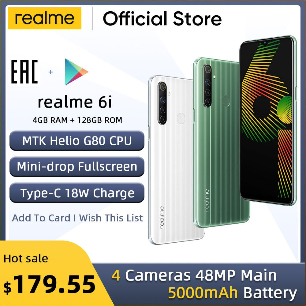 "realme 6i New Global Version 4GB RAM 128GB ROM Mobile Phone Mediatek Helio G80 5000mAh Battery 6.5"" Dewdrop display"