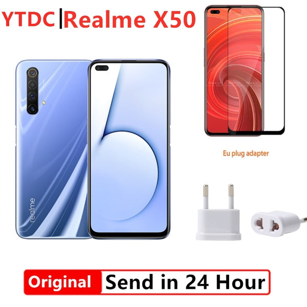Original Realme X50 X 50 5G 6GB 64GB 6.57'' Moblie Phone Snapdragon 765G 64.0 MP Camera Cellphone 4200mAh VOOC 30W Fast Charger