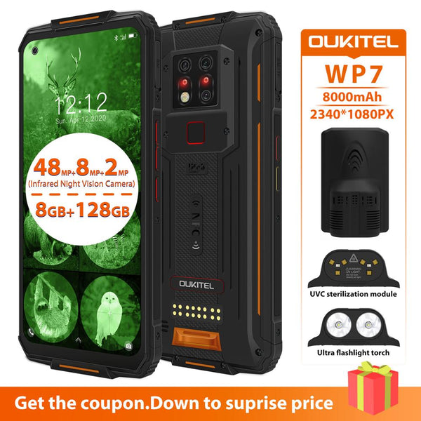 OUKITEL WP7 NFC UVC Sterilization Smartphone  IP68 8GB 128GB 8000mAh 48MP 6.53'' Android 9.0 Octa Core Waterproof Mobile Phone