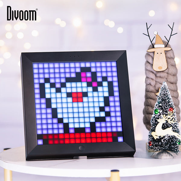 Divoom Pixoo digital photo frame smart alarm clock with pixel art programmable LED display,App control neon light sign for decor (black)